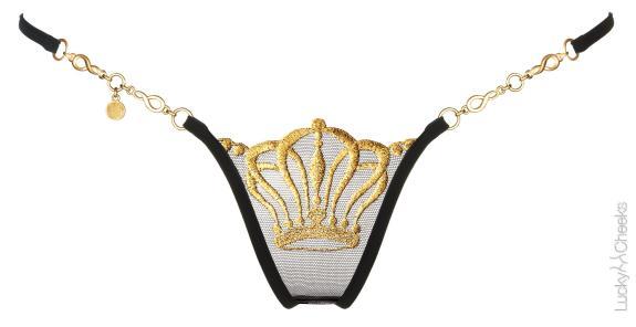 Queen of Love - Black - Luxus Mini G-String