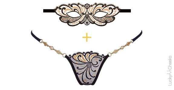 Golden Diamond set: luxury thong & Mask