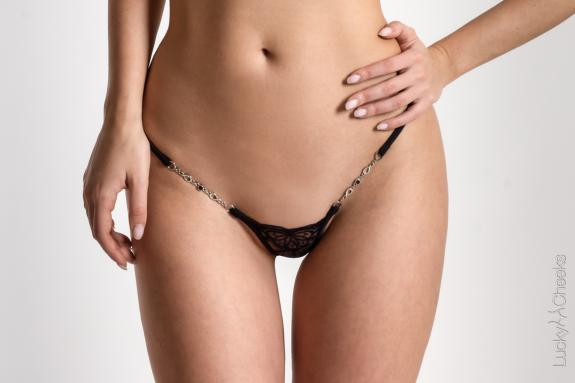 Extrem micro String transparent - Butterfly in Black von Lucky Cheeks