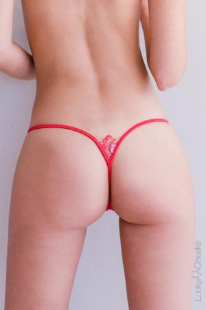Dazzling Red sexy thong by Lucky Cheeks