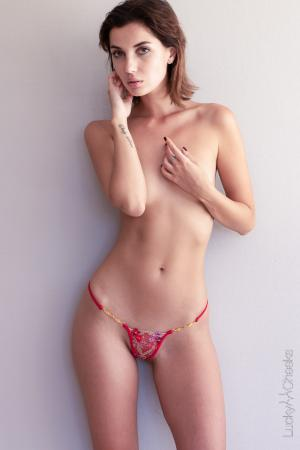 Dazzling Red Mini thong by Lucky Cheeks