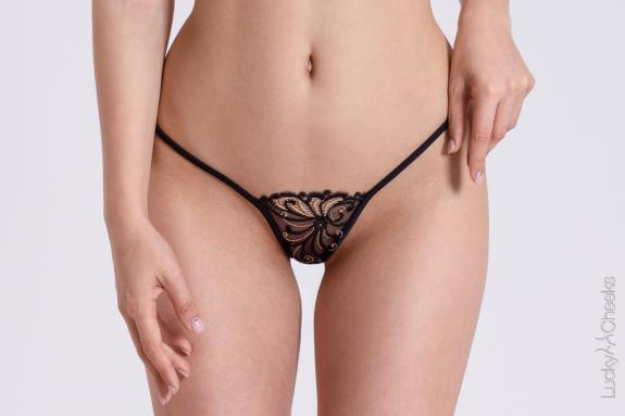 G-String black - Golden Diamond by Lucky Cheeks