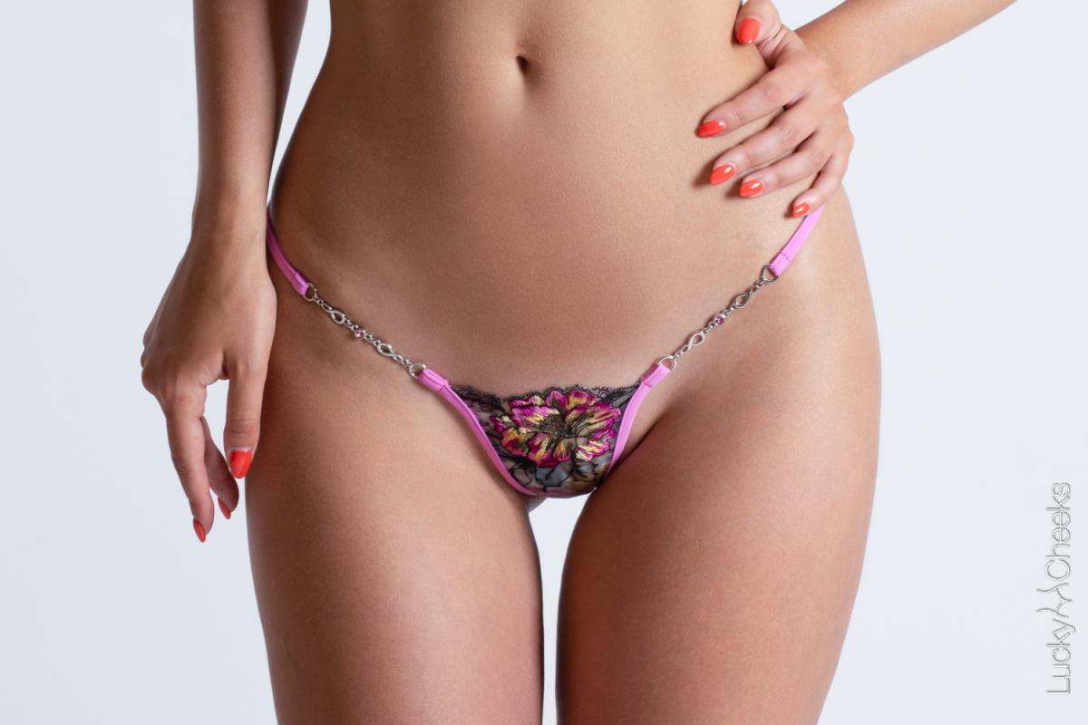 Mini G-String for woman - In Heaven Pink by Lucky Cheeks